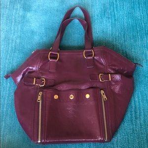 YSL patent magenta bag